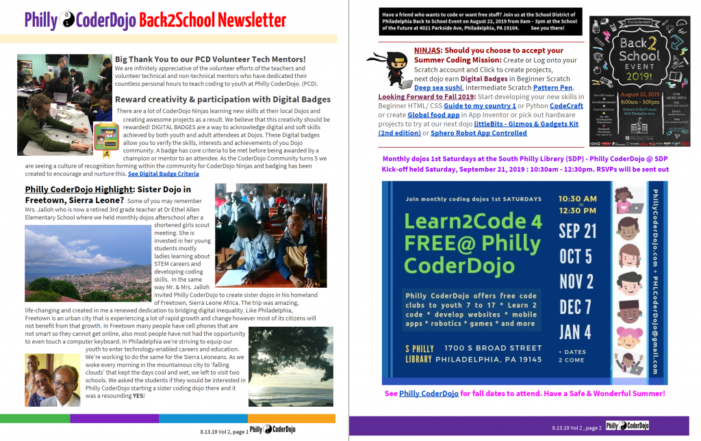 Philly CoderDojoBack2School Newsletter
